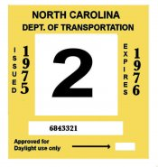 1975-76 North Carolina INSPECTION Sticker