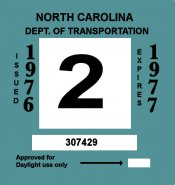 1976-77 North Carolina INSPECTION Sticker