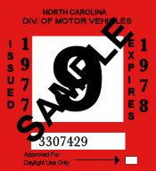 1977-78 North Carolina INSPECTION Sticker