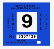 1981-82 North Carolina INSPECTION Sticker