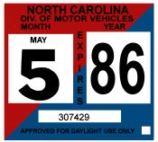 1986 North Carolina INSPECTION Sticker