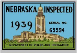 1939 Nebraska Registration Sticker