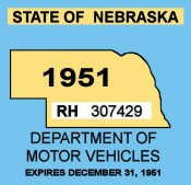 1951 Nebraska Inspection sticker (Estimated)