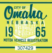 1965 Nebraska Omaha Registration Sticker