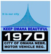 1970 Nebraska, Omaha Registration sticker