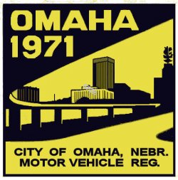 1971 Nebraska Omaha Registration sticker