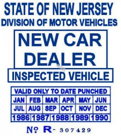 00 New Jersey New Car Dealer sticker 1986-1990