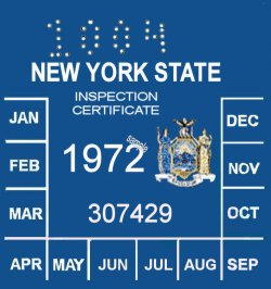 1972 New York INSPECTION Sticker