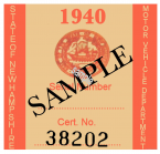 1940 New Hampshire REGISTRATION Sticker