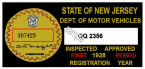 1925 New Jersey Safety Check inspection sticker