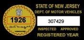 1926 New Jersey Safety Check inspection sticker