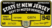 1940 1st Period New Jersey Inspection Sticker