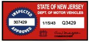 1943 New Jersey Inspection sticker