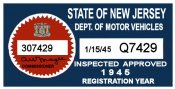 1945 New Jersey Inspection Sticker