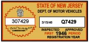 1946 New Jersey 1st Period Inspection Sticker