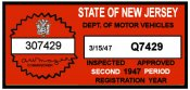 1947 New Jersey 2nd Period Inspection Sticker