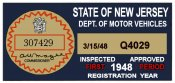 1948 New Jersey 1st Period Inspection Sticker