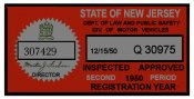 1950 New Jersey 2nd Period Inspection Sticker