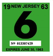 1963 New Jersey INSPECTION Sticker
