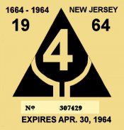1964 New Jersey INSPECTION Sticker