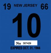 1966 New Jersey INSPECTION Sticker