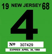 1968 New Jersey INSPECTION Sticker