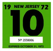 1972 New Jersey INSPECTION Sticker