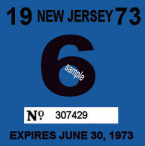 1973 New Jersey INSPECTION Sticker