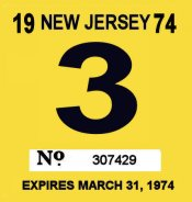 1974 New Jersey INSPECTION Sticker