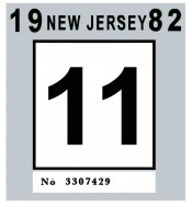 1982 New Jersey INSPECTION Sticker
