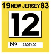 1983 New Jersey Inspection Sticker