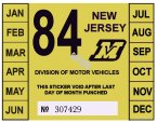 1984 New Jersey Inspection Sticker