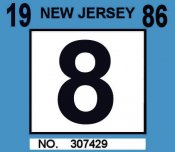 1986 New Jersey inspection sticker