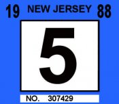 1988 New Jersey inspection sticker