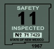 1967 New Mexico Inspection sticker
