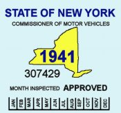 1941 New York Safety inspection Sticker