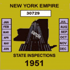 1951 New York Safety Check Inspection Sticker