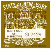 1956 New York Inspection Sticker