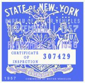 1957-58 New York Inspection Sticker