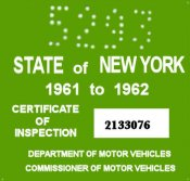 1961-62 New York INSPECTION Sticker