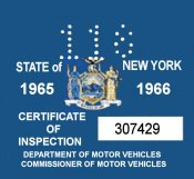 1965-66 New York INSPECTION Sticker