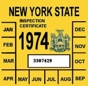1974 New York INSPECTION Sticker
