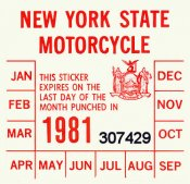 1981 New York Inspection Sticker MOTORCYCLE