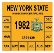1982 New York INSPECTION Sticker