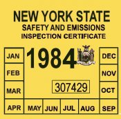 1984 New York Inspection sticker