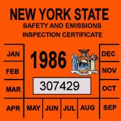 1986 New York Emissions inspection sticker