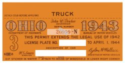 1943 Ohio TRUCK Registration sticker