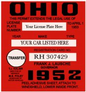 1952 Ohio REGISTRATION Sticker Transfer