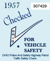 1957 Ohio Safety check sticker