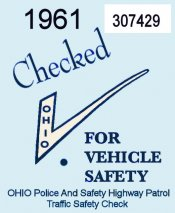 1961 Ohio Safety Inspection Sticker